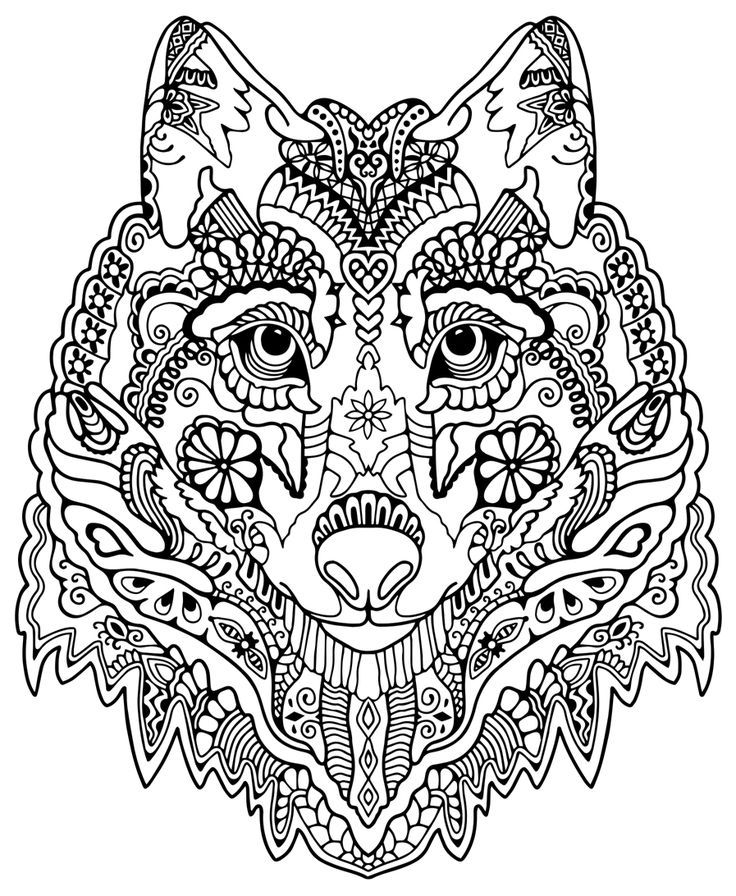Awesome Wolf From Quot Awesome Animalsquot Colouring Pages Mandala Coloring Pages Animal Coloring Books Animal Coloring Pages