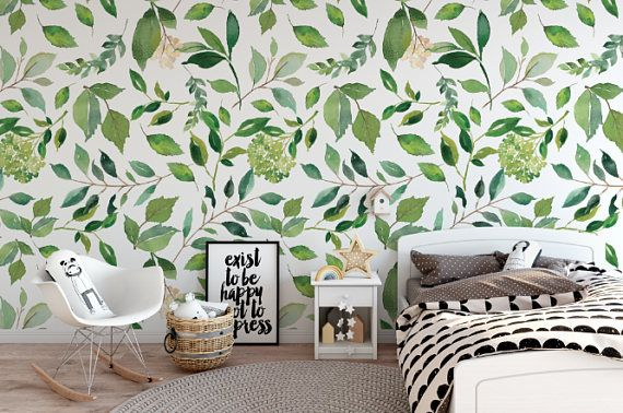 Green Leaves Removable Wallpaper Green Floral Peel And