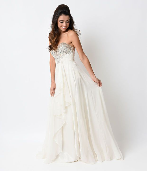 Beige Chiffon Sequin Beaded Strapless Sweetheart Long Dress 2015 ...