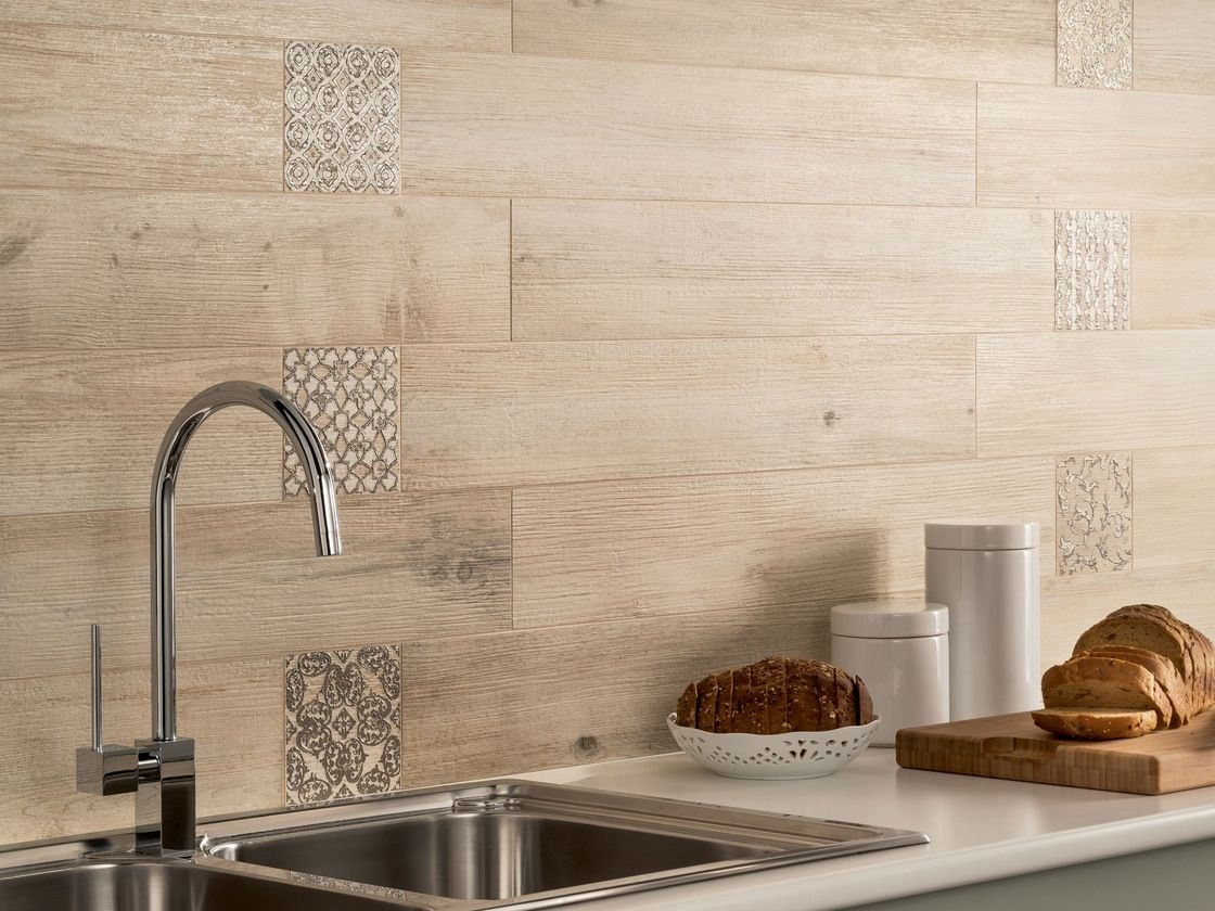 Kitchen Tiling Light Wooden Tiled Kitchen Splashback Closeup Interior