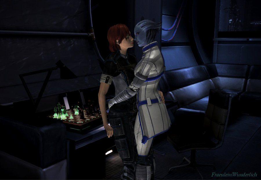 Liara Visits Shepard In Her Cabin By Fraeuleinwunderlich Deviantart Com On Deviantart Mass Effect Femshep Model Ships