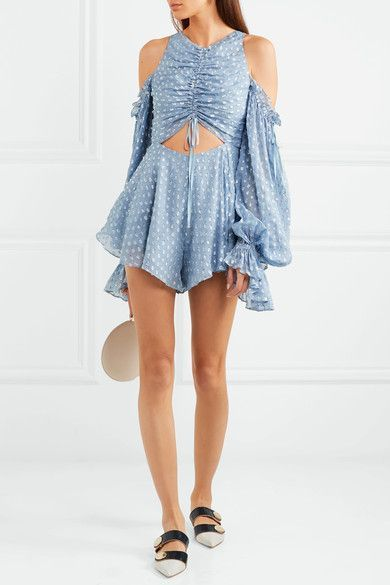 009a8b133f8 Alice McCall - Did It Again Cutout Gathered Flocked Georgette Playsuit -  Blue