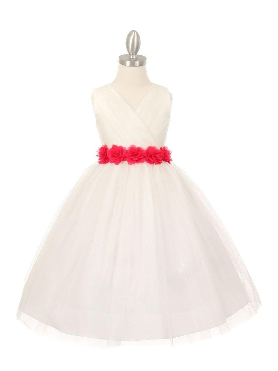 50e39c62a26 Versatile Ivory Tulle V Neck Pleated Flower Girl Dress