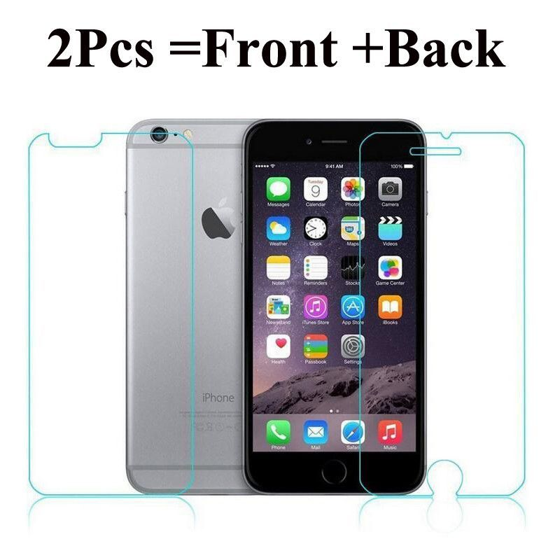 2Pcs Front + Back Tempered Glass For iPhone 5 5S SE 6 6S 4 4S Rear Screen  Protector Anti Shatter Explosion Proof Film b32f7bb688