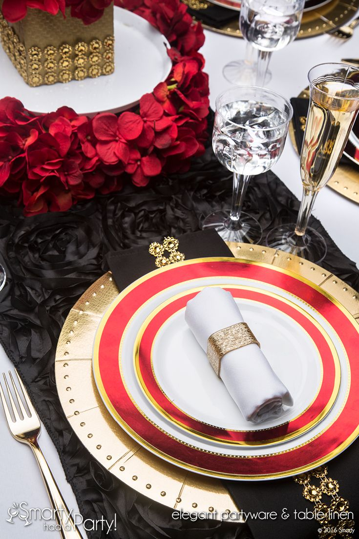 Shop the beautiful Cabernet table setting - fancy elegant plastic dinnerware and table linen for your wedding party or event. How Smarty is YOUR Party? & Cabernet Wedding and Event Design | www.SmartyHadAParty.com | Party ...