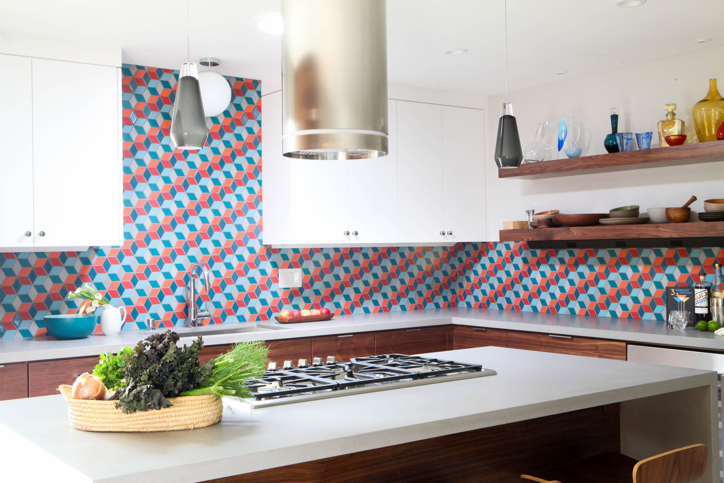 Colorful Heath Ceramics Tile In A Midcentury Modern Kitchen