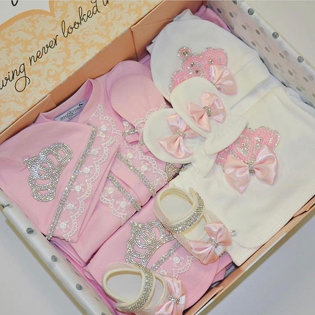 2 sets in this gorgeous #ittybittybox  Pink Princess 10 Piece Newborn Set + Crown Jewels Set in Pearly Pink  Shop: www.ittybittytoes.com