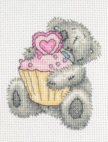 Tatty Teddy cupcake 1/2 | grille point de croix ours. teddy bears