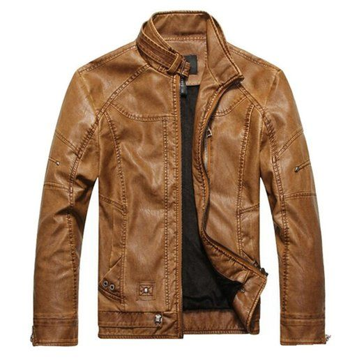 Partiss Mens Leather Motorcycle Washed Leather Jackets
