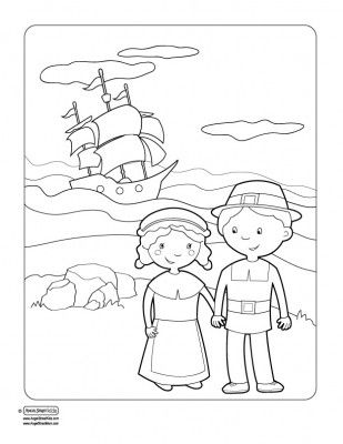 coloring pages mayflower pilgrims corn   Cute Thanksgiving printables for parties, school, or home ...