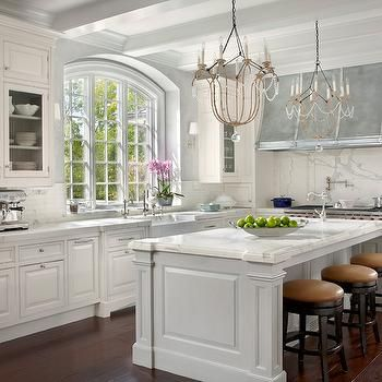 Modern French Kitchen With White Cabinets Paired Marble Countertoparble Slab Backsplash
