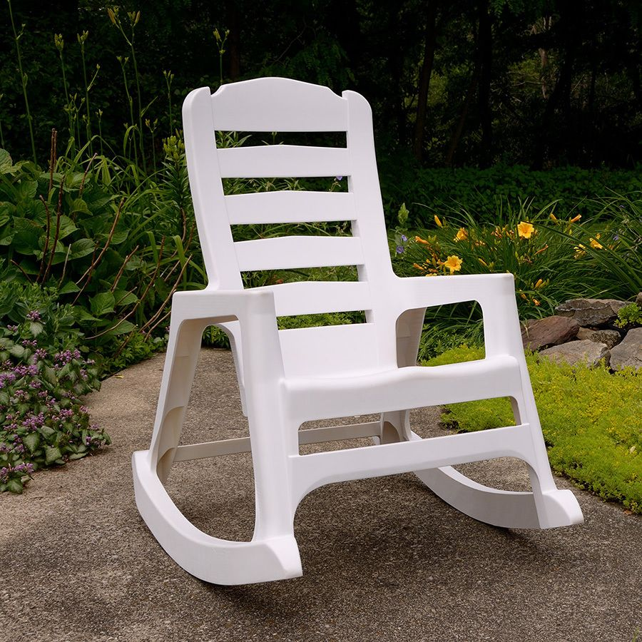 shop adams mfg corp white resin slat seat outdoor rocking chair at for the home. Black Bedroom Furniture Sets. Home Design Ideas