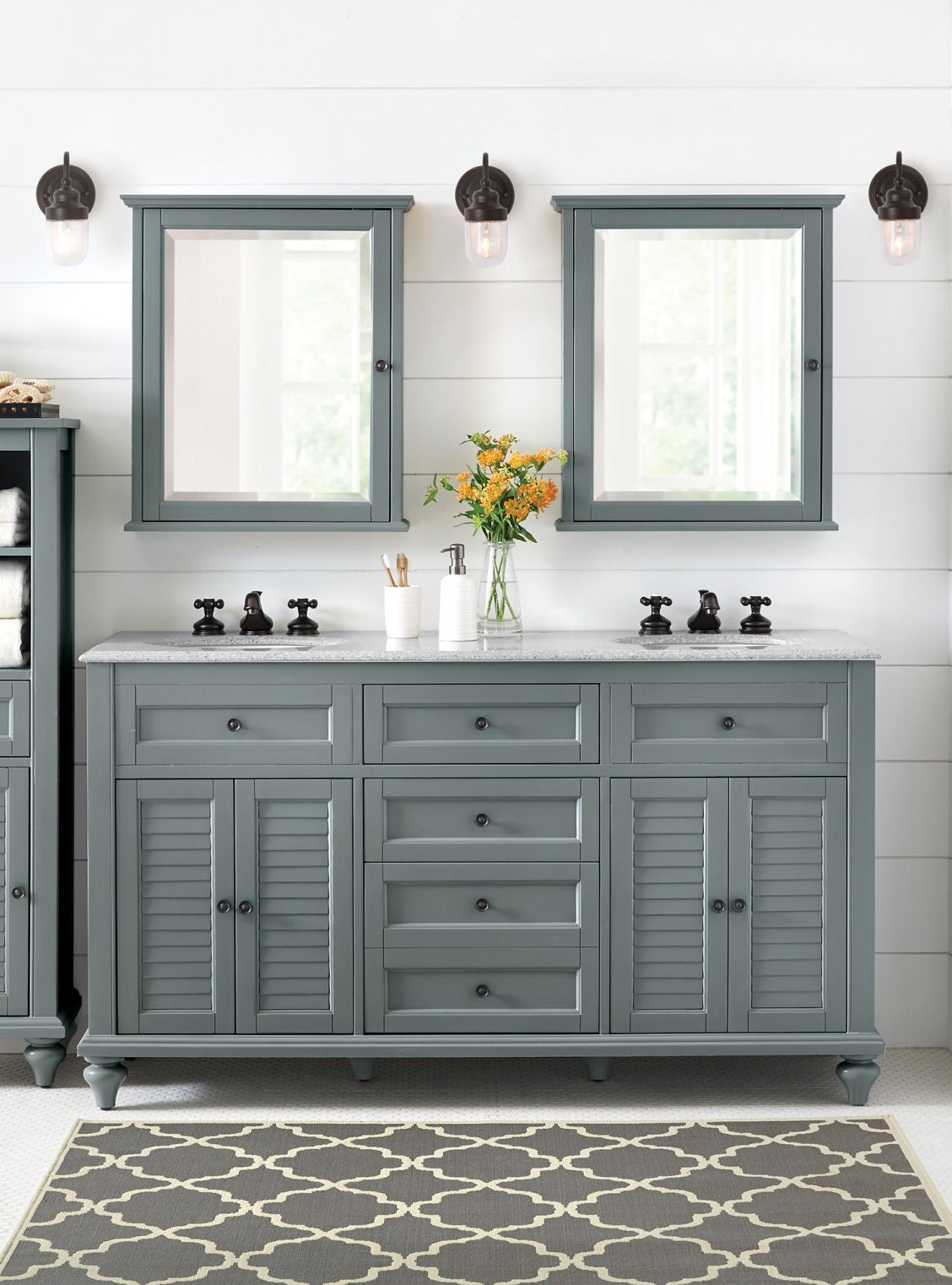Double Bath Vanity Part - 20: Double sinks, double storage, double mirrors above. No need to forgo all of  your personal space; try a double bath vanity that gives ...