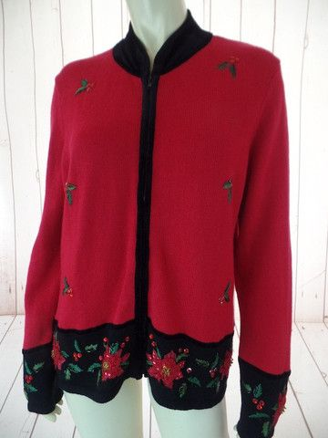 TIARA INT. Ugly Christmas Sweater L Red Ramie Cotton Zip Front Beads Embroidery Black Velvet Trim Poinsettias Holly FESTIVE!