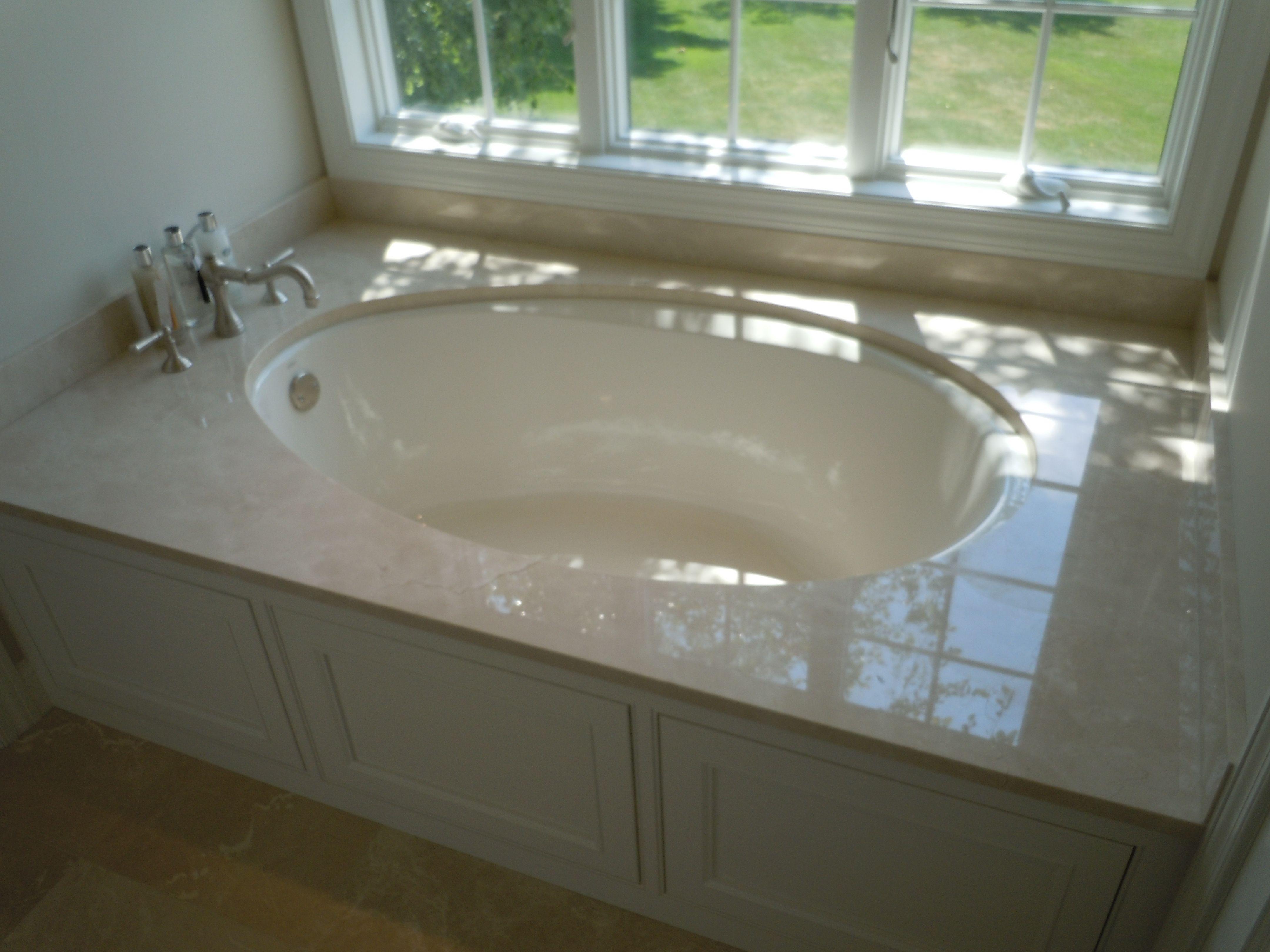 Kohler soaking tub undermount installation, stone top with deck ...