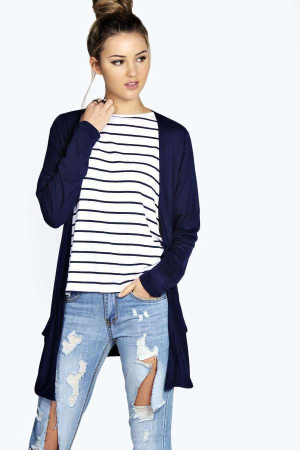 Lilly Long Sleeve Jersey Pocket Cardigan | Boohoo, Dusters and Navy