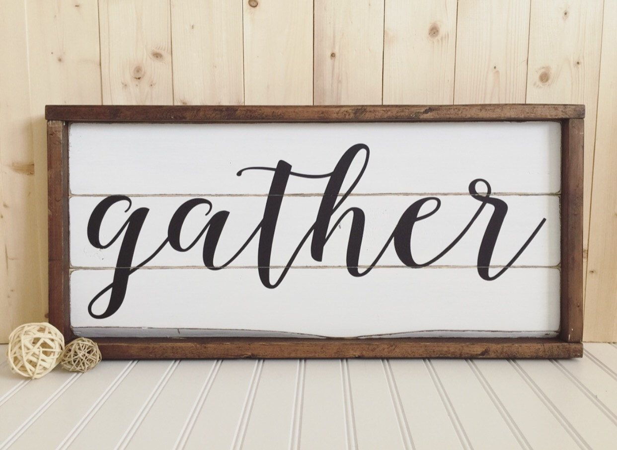 Gather wood sign framed rustic home decor wall for Rustic home decor and woodworking