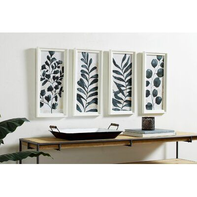 Watercolor Plant Illustrations 4 Piece Framed Painting Set on Wood -   18 planting Illustration paintings ideas
