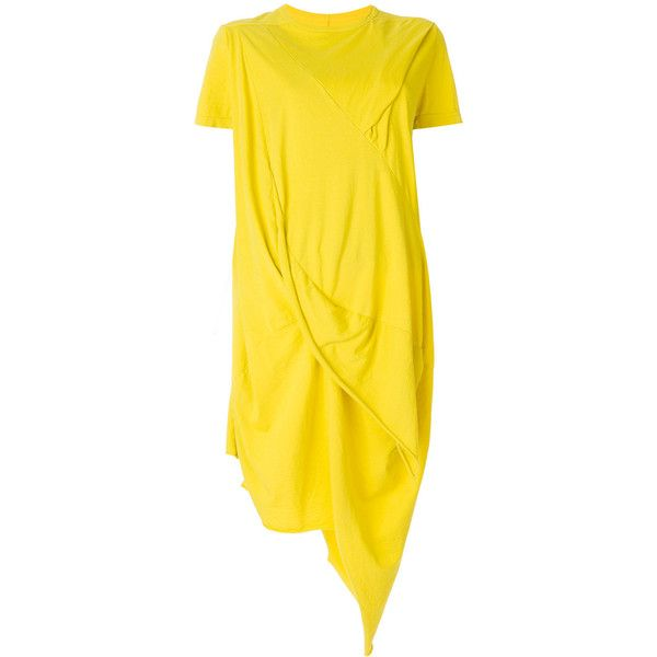 Rick Owens DRKSHDW asymmetric T-shirt dress ($490) ❤ liked on Polyvore featuring dresses, yellow, tee dress, yellow asymmetrical dress, t-shirt dresses, tee shirt dress and yellow dress