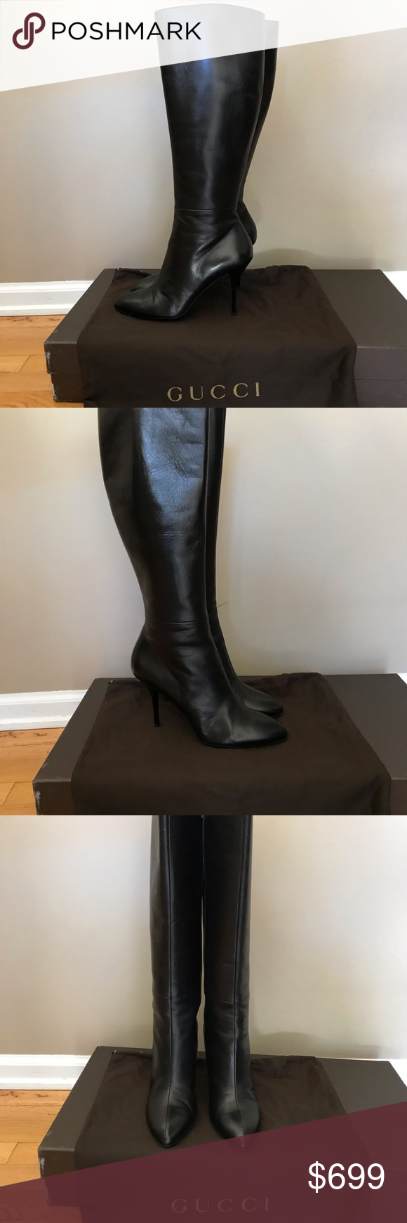 38be06bbb53 Spotted while shopping on Poshmark  Gucci Nappa Steve smooth Black Leather  boots sz 40!  poshmark  fashion  shopping  style  Gucci  Shoes