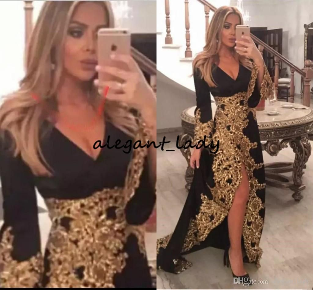 2871d2d0a94 Black Long Sleeve Prom Dresses With Gold Lace Appliqued 2019 Long Evening  Party Formal Gowns Split