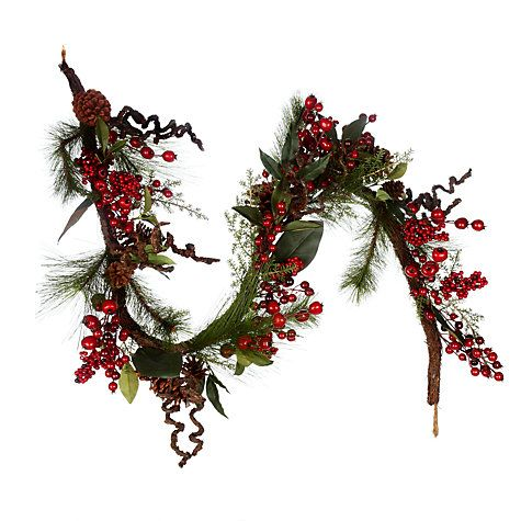 befff21c056b Buy John Lewis Premium Red Berry and Pine Cone Garland