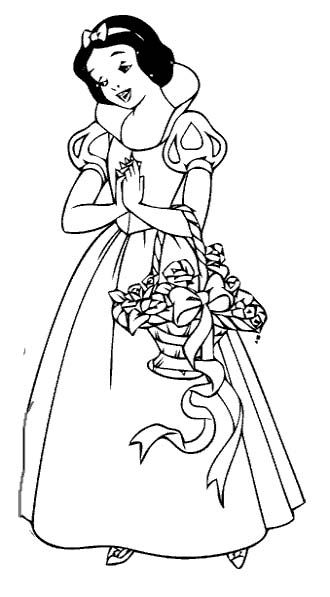 Snow White Carrying Basket Coloring Pages Coloring pages