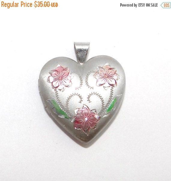 Sale  Valentines Day Sterling Heart Locket Vintage by Betsysbijoux