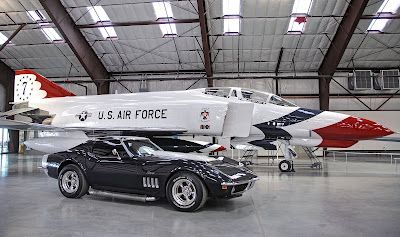 69 Corvette Stingray and a USAF Thunderbirds Phantom II Jet.