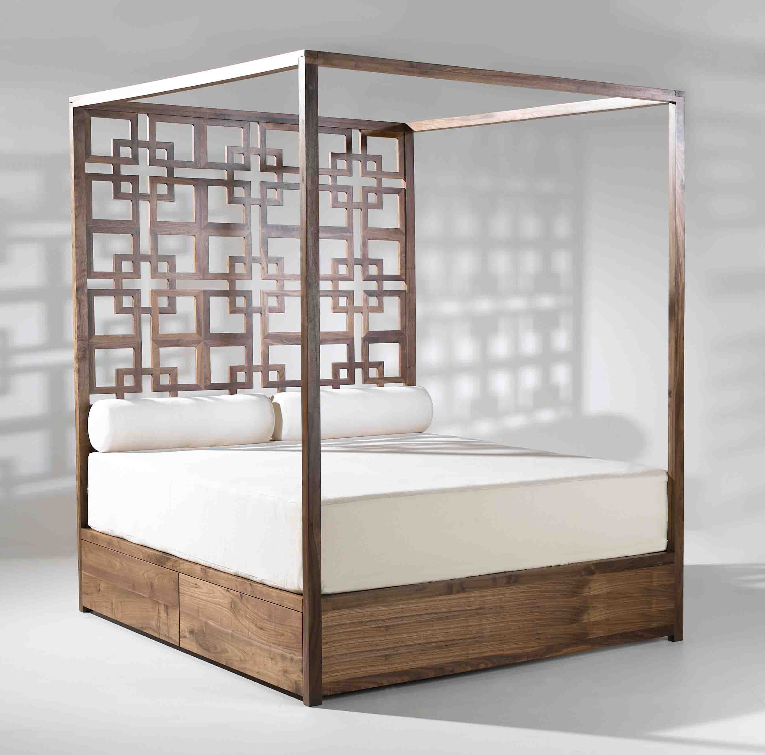 Unpolished Teak Wood Canopy Bed Frame With Accent Headboard Using