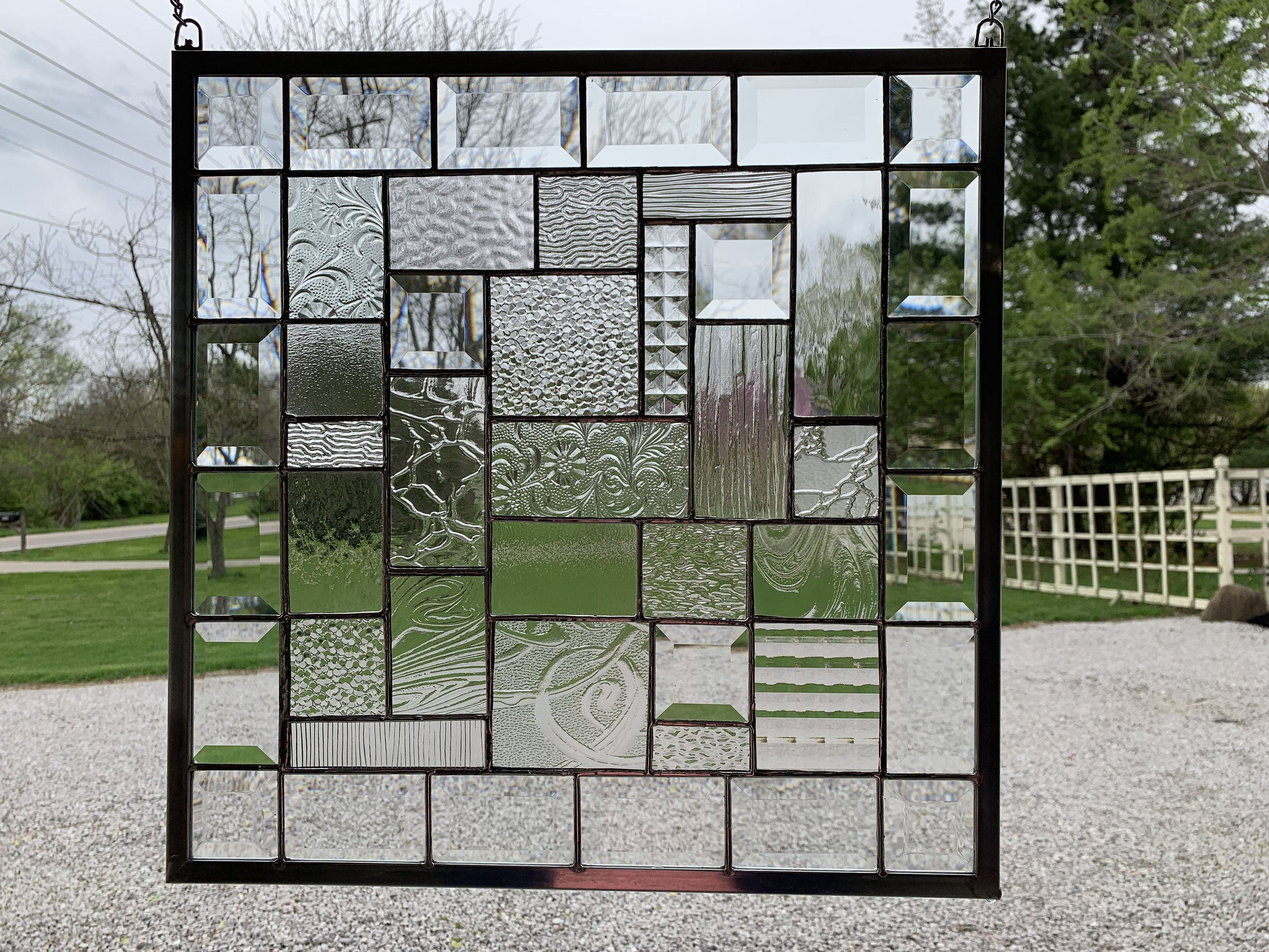 Stained Glass Panel 17 X 17 Clear Textured Glass Geometric Stained Glass Glass Texture Glass Panels