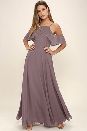 d5aa65a5db4 Lovely Dusty Purple Dress - Off-the-Shoulder Maxi - Chiffon Maxi -  84.00
