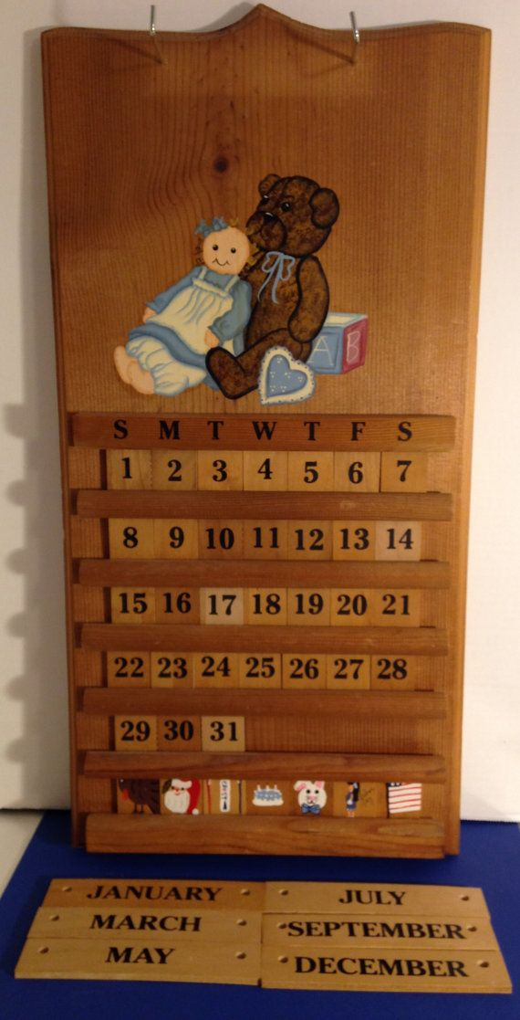 Hand painted vintage wooden perpetual calendar with teddy bear and rag doll wall hanging - Wooden perpetual wall calendar ...