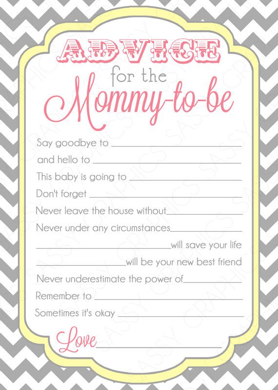 Bird Baby Shower Advice Card For The Mom To Be Diy Printable