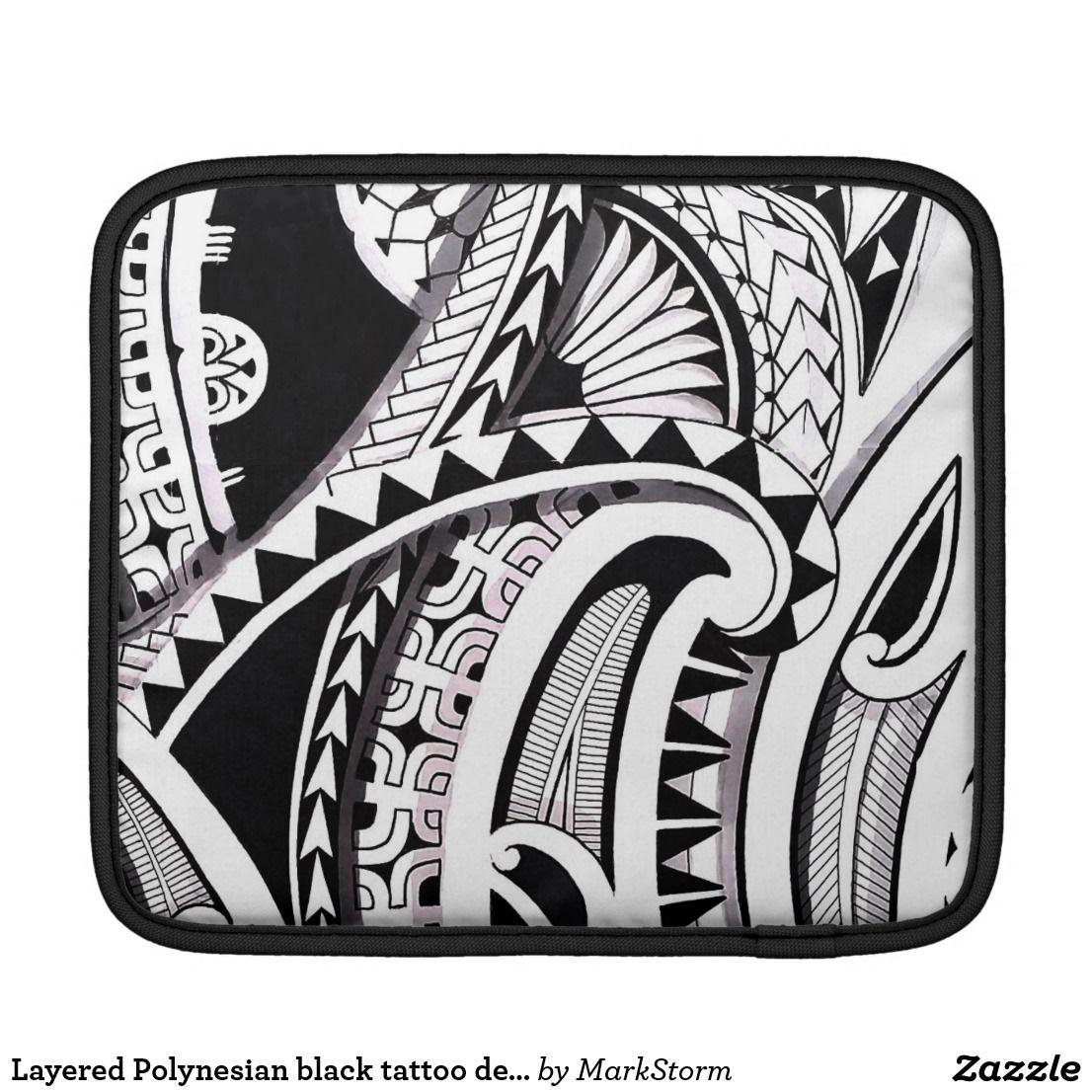Layered polynesian black tattoo design spearheads ipad