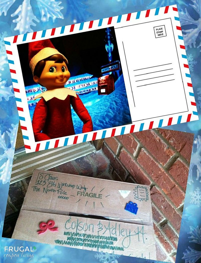 Dozens of Great The Elf on the Shelf Ideas found on Frugal Coupon Living. Elf sends a postcard before his visit and arrives the special day in a package.