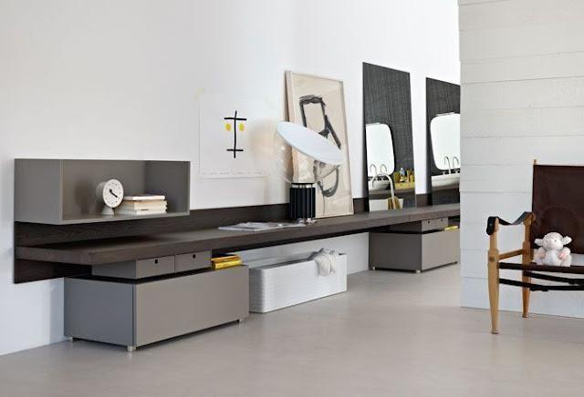 Soggiorno con angolo studio mobili design del mobile for Mobili italiani design