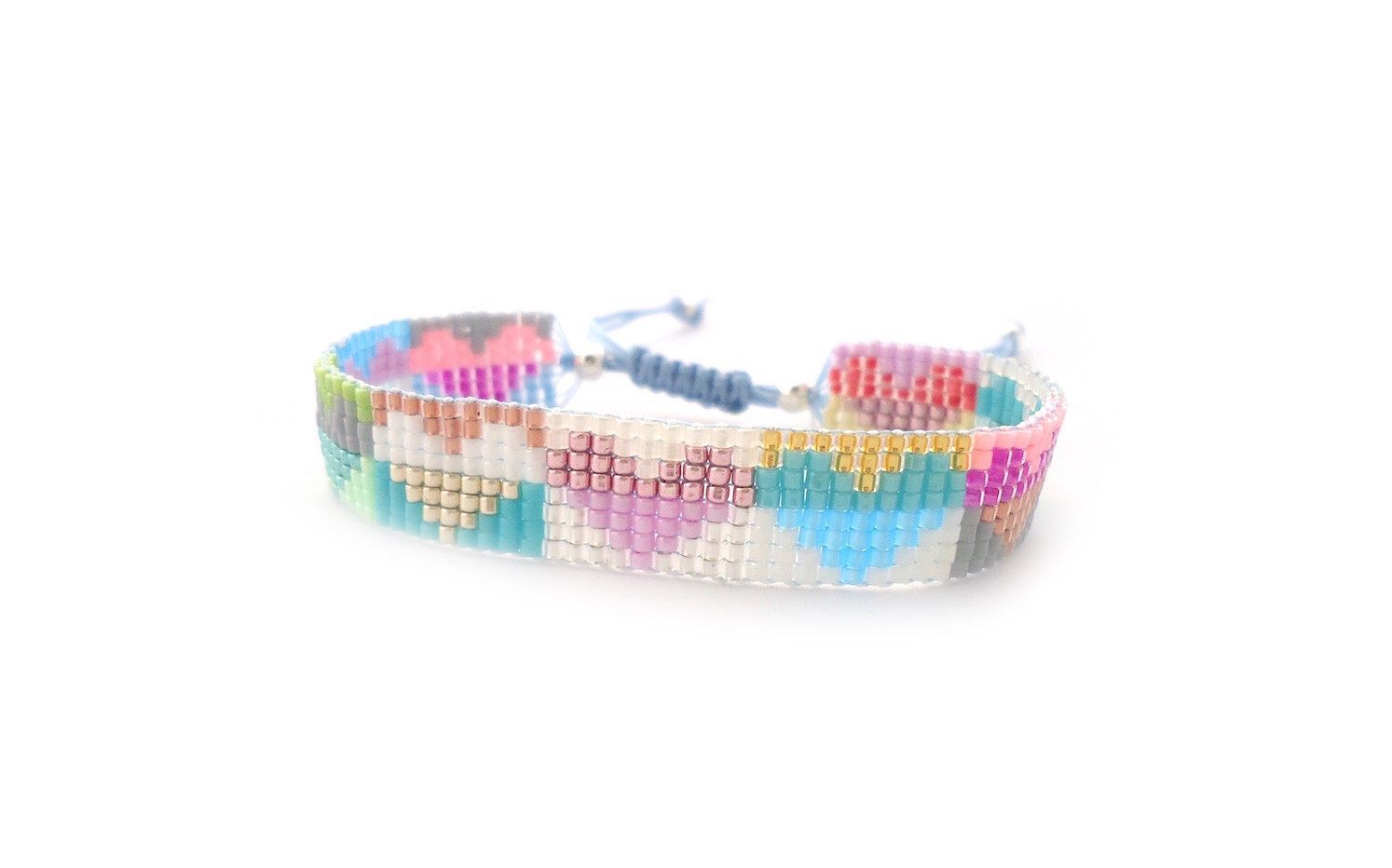 Hearts loom bracelet friendship bracelets pastel color beaded