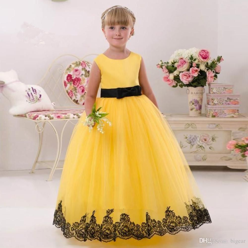 Yellow Ball Gown Flower Girl Dress With Black Lace Trim Bow Sash