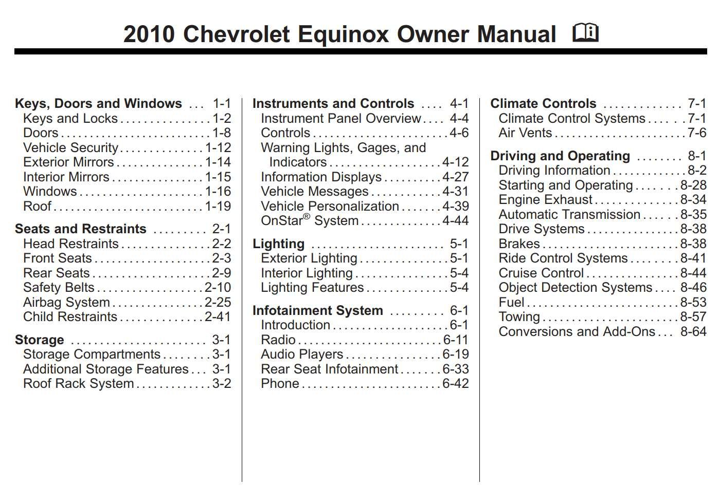 Chevrolet Equinox 2010 Owner S Manual Has Been Published On Procarmanuals Com Https Procarmanuals Com Chevrolet Eq Chevrolet Equinox Owners Manuals Chevrolet