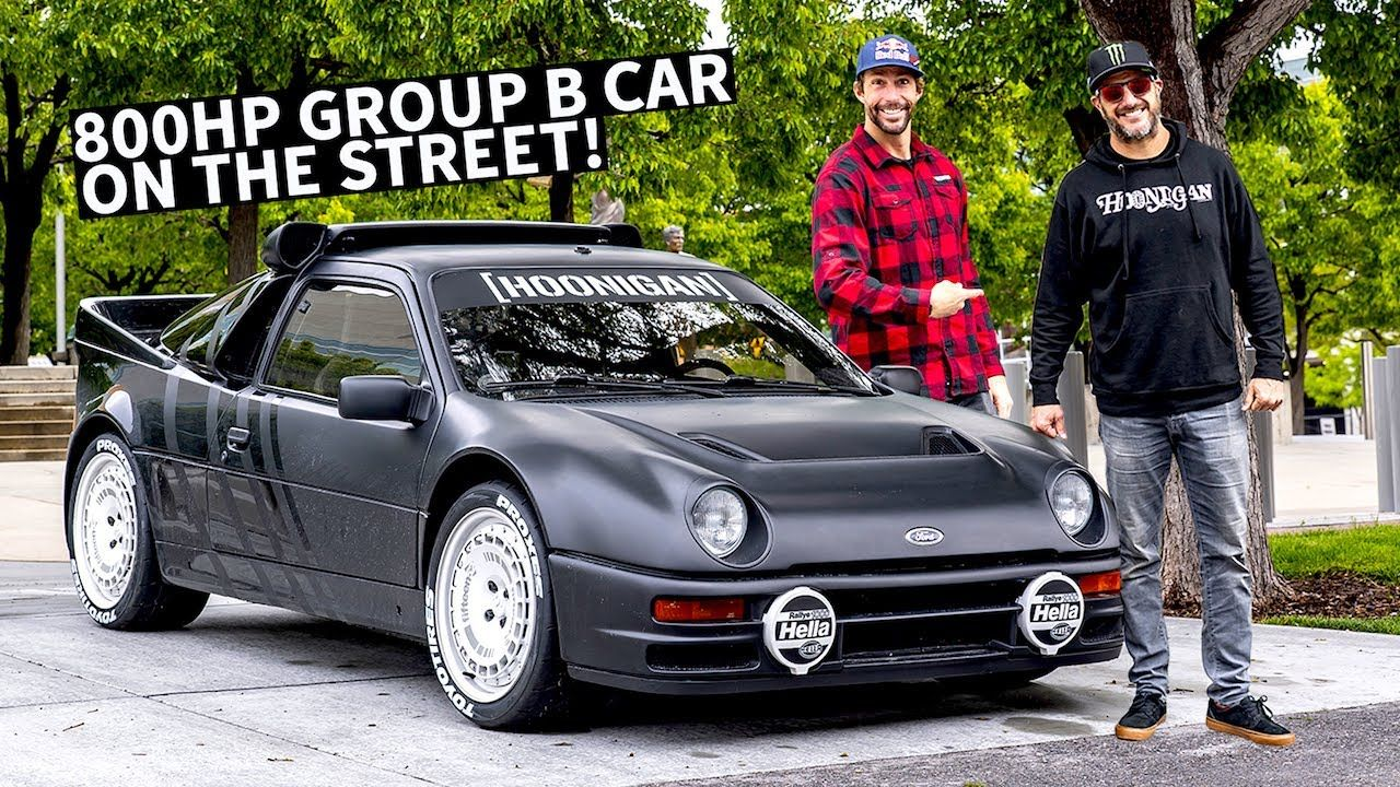 Ken Block S Ford Rs200 Group B Rally Car On The Street Meeting Up With Hot Rods Cars Muscle Rally Car Ford