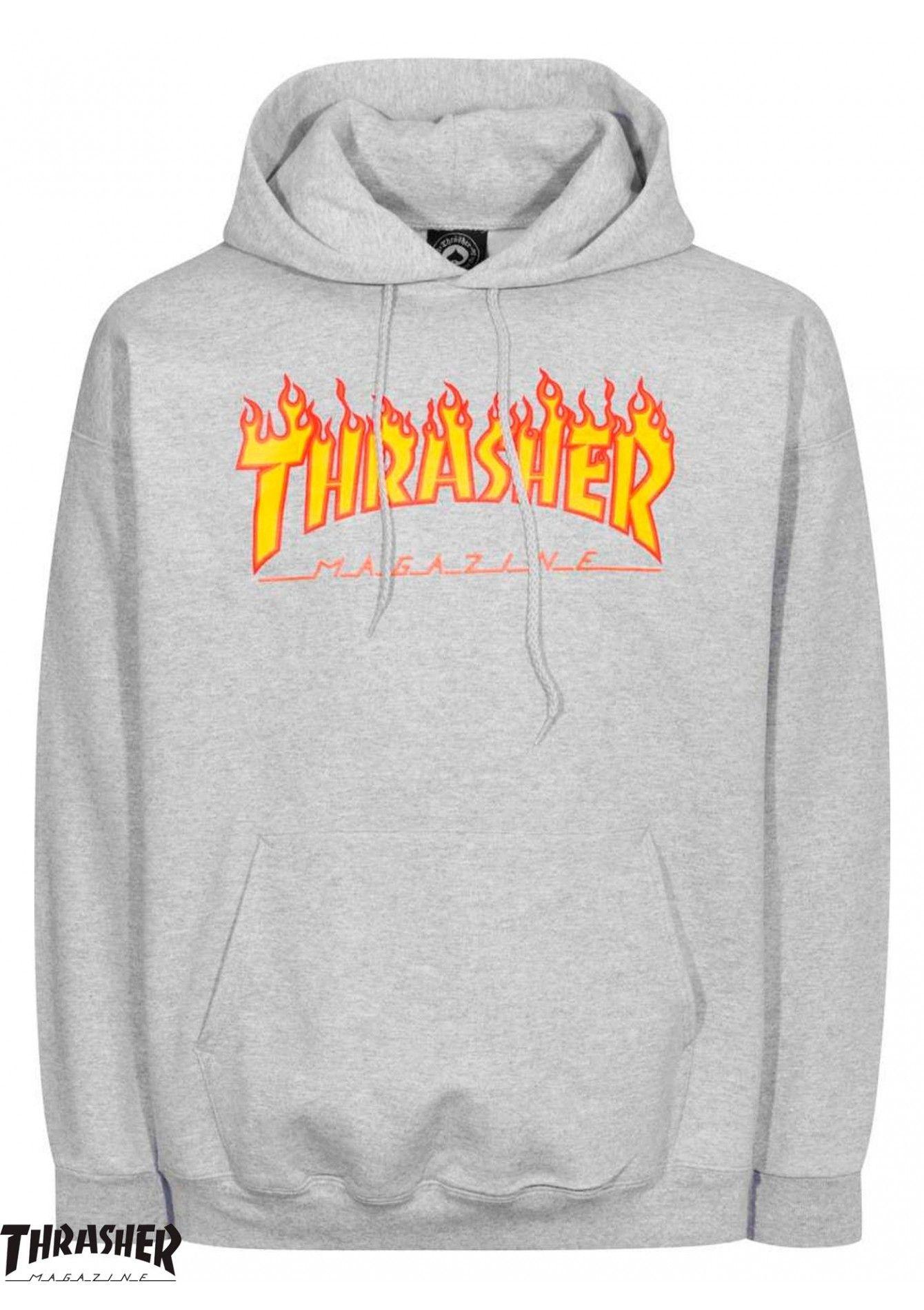 Trasher Flame Logo Cinza Fire Hoodie Thrasher Sweatshirt Hoody Outfits [ 1900 x 1340 Pixel ]