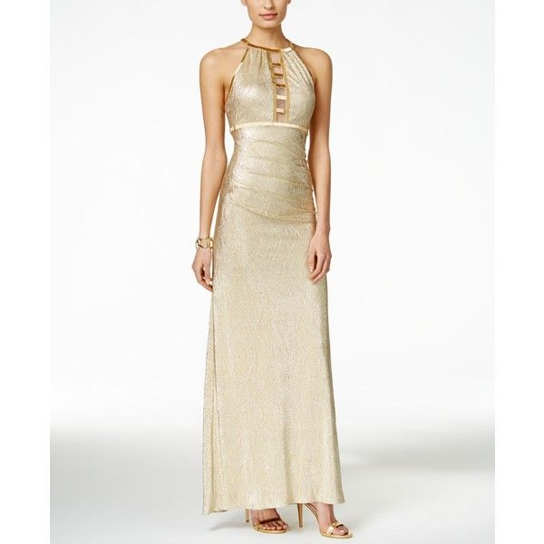 Xscape Illusion Ladder Beaded Metallic Halter Gown ($229) ❤ liked ...