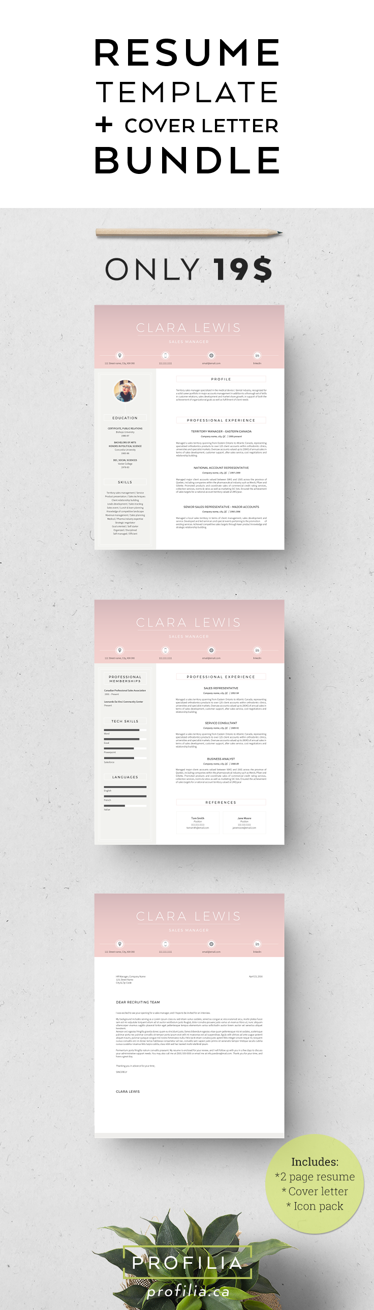 Cover Letter In A Resume Best Modern Resume & Cover Letter Template  Editable Word Format .