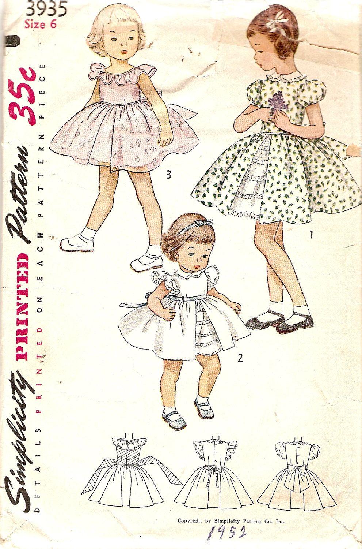RESERVED FOR KC until 6-16, 1950s Girls Dress Pattern w/ Underskirt ...