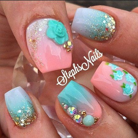 Pink Blue Flower Nails #stephsnails #ombre #glitter #nailart