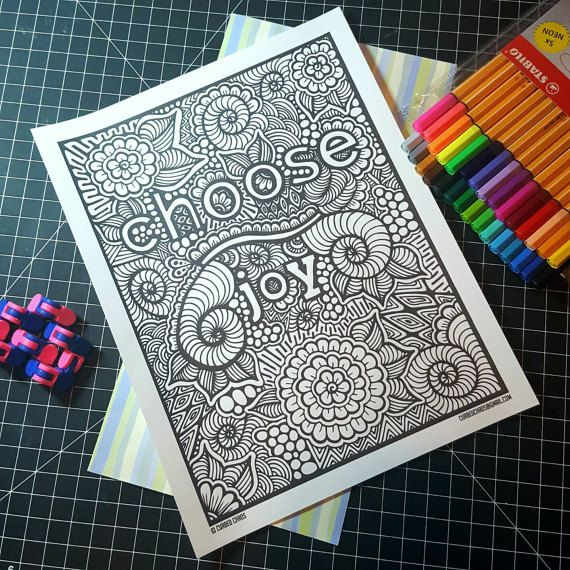 Choose Joy Coloring Page Digital Download Coloring Pages Choose