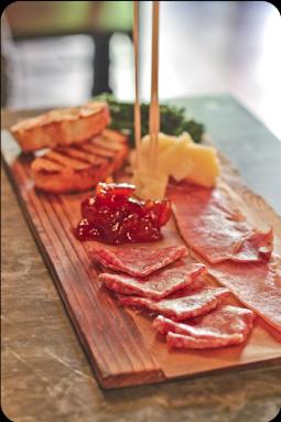 Charcuterie. Salami, prosciutto, parm, Monterey, grilled bread, jam.