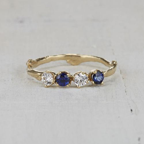 Twig Wedding Ring | Nature Inspired Sapphire Twig Wedding Band Sapphire And Diamond