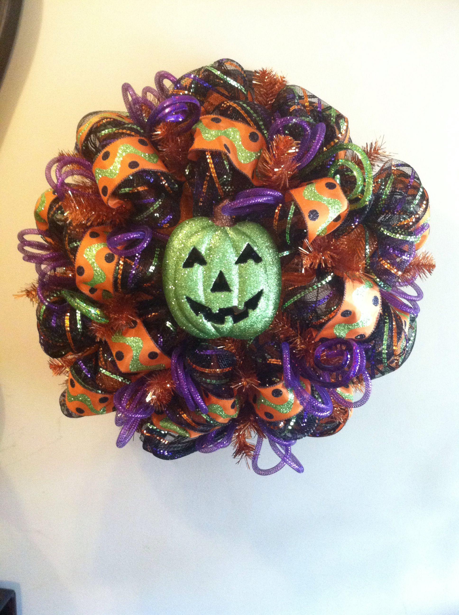 Wreaths Halloween Green Pumpkin